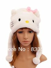 White Kitty Anime Aviator Costume Cosplay Animal Plush Hat - USA Seller