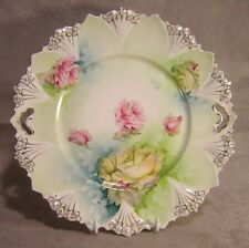 """R S Prussia 10"""" Roses Handled Cake Plate ~ Mold 98"""