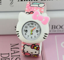 Girls Kids Children Cute Pink Hello Kitty Bow Snap on Slap band Wrist Watch