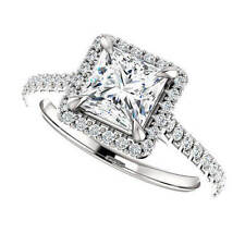 2.15 ct. Princess Cut Halo U-Setting Diamond Engagement Ring H, Vs2 Gia 14k Wg