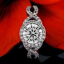 1.33 CT ROUND CUT DIAMOND HALO ENGAGEMENT RING 14K WHITE GOLD
