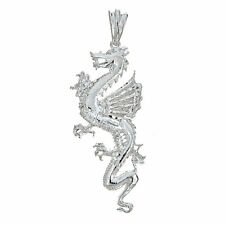 .925 Sterling Silver Vintage Dragon Pendant - Made in USA (12 grams)