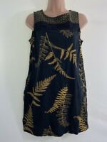 NEXT black ochre yellow floral print linen mix shift dress size 10 petite eu 38