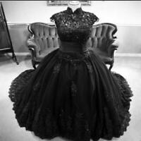Vintage Black Gothic Wedding Dress Princess High Neck Beaded Lace Country
