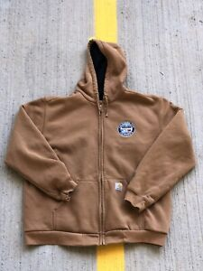 Carhartt Rain Defender™ Thermal Lined Full Zip Sweatshirt Brown