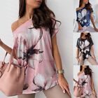 Women Summer One Shoulder Short-Sleeve Floral T-Shirt Casual Loose Blouse Tops