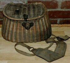 ANTIQUE VINTAGE FISHING CREEL WICKER BASKET WITH STRAPS