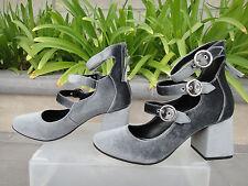 Topshop JOJO MULTI BUCKLE Gray Velvet Shoes 32J23KGRY, Size UK5 EUR38 US7.5