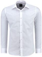 Jeel Herren Hemd Hochzeit Freizeit Schwarz Weiß Blau Basic Slim Fit S M L XL XXL
