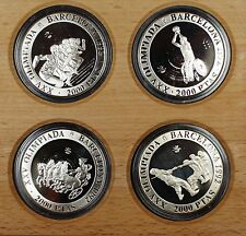 1992 Spain 2000 PTAS Barcelona Olympic Silver Proof 4 Coin Set-w/Box-NO COA