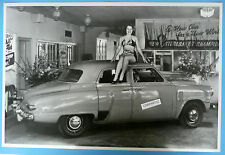 "12 By 18"" Black & White Picture 1947 Studebaker 4 Door In Showroom"