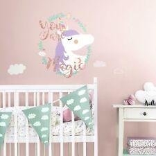 New UNICORN MAGIC GiAnT Wall Decals w/ Glitter Nursery KiDs Room Decor Stickers