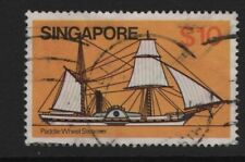 SINGAPORE SG376   Braganza (Paddle Steamer) 1980 $10   Fine Used