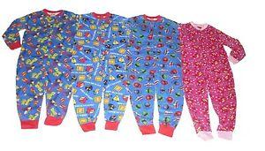 Boys & Girls All In One Sleepsuit Pyjamas Superman Angry Birds Power Rangers