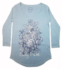 Lucky Brand Womens 3/4 Sleeve Scoop Neck Graphic Tee Shirt. Blue Rose, Sz: Large