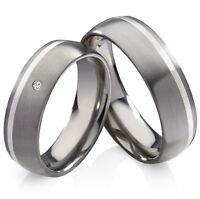 Verlobungsringe Eheringe Partnerringe aus Titan 925 Silber echtem Diamant TB016