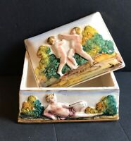 Capodimonte Italy M&R Jewelry Trinket Box Porcelain Ceramics Handpainted