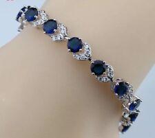 """Blue Sapphire  White Topaz Tennis  Overlay Sterling Silver 925 Bracelet  7-8"""""""