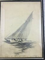 Vintage 1932 Nautical Charcoal Sketch Sailboat Turning Windward Signed Warner