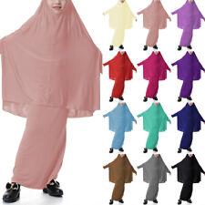 Muslim Kids Girl Prayer Dress Hijab Kaftan Set Arab Islamic Abaya Jilbab Clothes