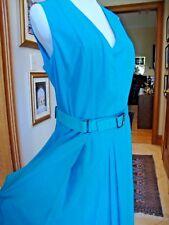 NWT $2000 AKRIS Turquoise Blue DRESS Lined Silk, Belt, Fit &Flare 10 M FAB!$2000