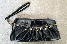 NEW Ladies Small hand bag in black wet look  hearts and stars sequins