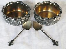 2 ~ VICTORIAN MERIDEN B. COMPANY SILVERPLATE MASTER SALTS & SPOONS W/ GOLD WASH