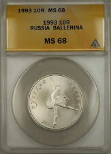 1993 Russia 10R Ten Rubles Palladium Ballerina Coin ANACS MS-68 *SUPERB GEM*