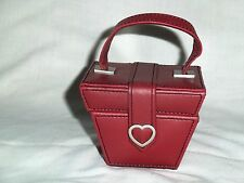 Travel Ring Jewelry Box Red Leather With Mirror