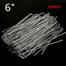 """100Pcs 6"""" Garden Stakes Staple Pins Landscape Weed Barrier Peg Stainless Steel"""