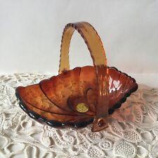 Vintage  M Past Brown Hard Transparent Plastic Candy Basket Dish