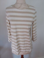 CHICO'S White Gold Sparkle Stripe 3/4 Sleeve Top Size 0