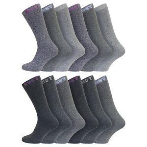 Men's 12 Pairs Cotton Walking, Work, Outdoor BOOT Socks Size 6-11 UK, 39-45 Eur