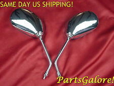 Mirrors Mirror Set, Long Stem 8mm RH Universal Chrome Cruiser Motorcycle Scooter