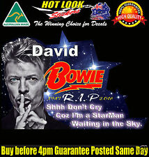 David Bowie RIP Car Sticker Shhh Don't Cry Coz I'm a StarMan Waiting in the Sky