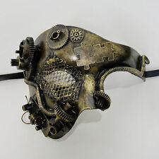 Steampunk Phantom Theater Masquerade Mask for Men - Metallic Gold