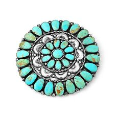 Sterling Silver Artist Signed Southwestern Turquoise Concho Style Pin