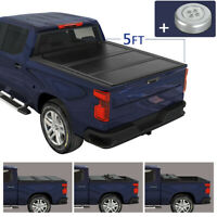 Hard Solid Tri-Fold Tonneau Cover 5ft Truck Bed W/ LED For 2020 Jeep Gladiator