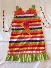 Botique Girls 6X Ice Cream Themed Dress Summer Striped Bows Party Jenny & Me