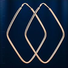 Rhombus Kreolen russische Rose Rotgold 585 Kongo HOOP Ohrringe Neu EARRINGS 40mm