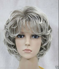 LMRA102  pretty culry long gray white lady's hair WIG wigs for women