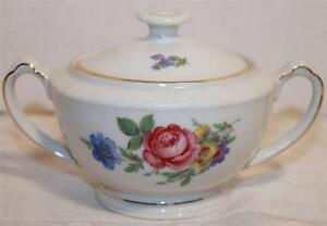 SCHONWALD SUGAR BOWL ROSE FLORAL PATTERN GERMANY WITH LID RARE BEAUTIFUL