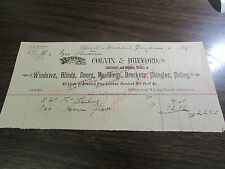 COLVIN & HUFFORD - WINDOWS, BLINDS, DOORS  - CLARKS SUMMIT PA -  BILLHEAD 1891