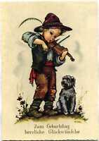 AK Hilde Geburtstag Kind Junge mit Hund und Geige A_633