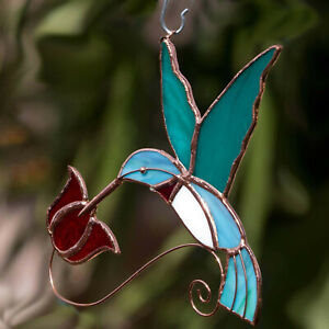 Handmade Copper and Stained Glass Suncatcher Hummingbird w/ Red Flower