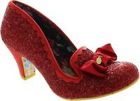 Irregular Choice Kanjanka Women's Red Glitter High Heel Court Shoes With Bow New