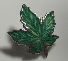 Beautiful Vintage Hallmarked Solid Silver & Green Enamel Maple Leaf Brooch