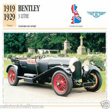 BENTLEY 3 LITRE 1919 1929 CAR VOITURE Great Britain GRANDE BRETAGNE CARD FICHE