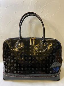 Arcadia Black Patent Leather Dome Satchel Handbag Made in Italy
