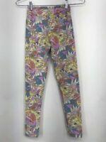 LuLaRoe Girls Leggings Yellow Teal Pink Floral Elastic Waist Stretch Tween 00-0